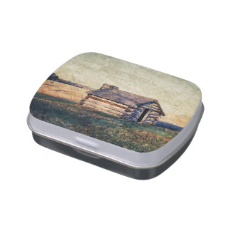 paisaje rústico de la cabaña del país de la granja jarrones de dulces