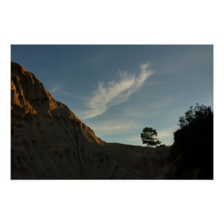 Paisaje solitario de la puesta del sol de póster