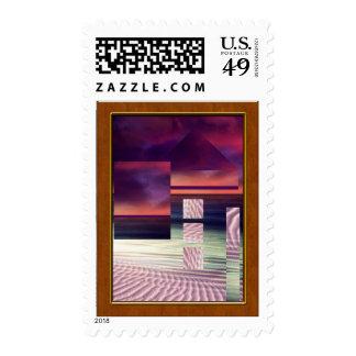 Paisaje surrealista del naranja, azul y rosado sellos