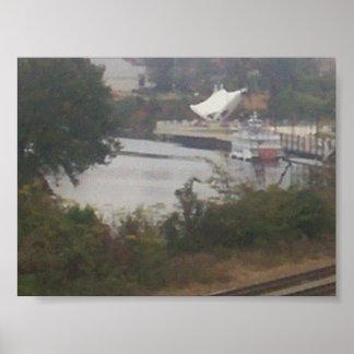 paisaje, transbordador con un objeto poster