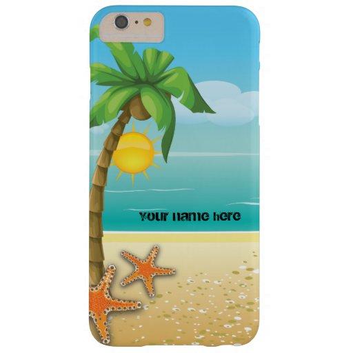 Paisaje tropical de la palmera y de las estrellas funda de iPhone 6 plus barely there