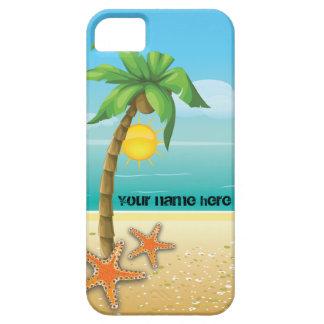 Paisaje tropical de la palmera y de las estrellas iPhone 5 Case-Mate protector