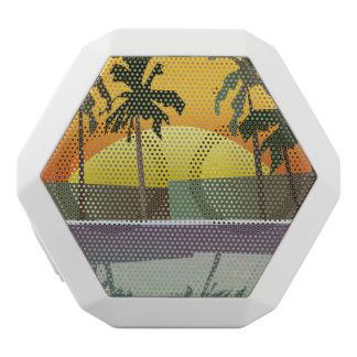 Paisaje tropical de la puesta del sol, palmeras altavoz con bluetooth