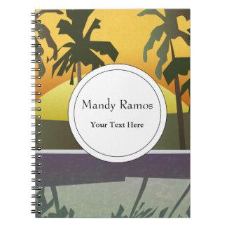 Paisaje tropical de la puesta del sol, palmeras notebook