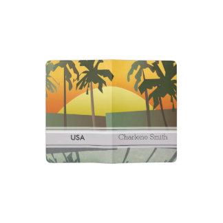 Paisaje tropical de la puesta del sol, palmeras funda para libreta y libreta pequeña moleskine