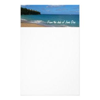 Paisaje tropical de las vacaciones de la playa de papelería personalizada