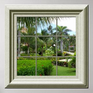 Paisaje tropical del falso de la ventana zen del póster