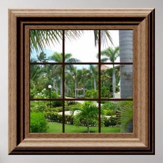 Paisaje tropical del falso poster de la ventana