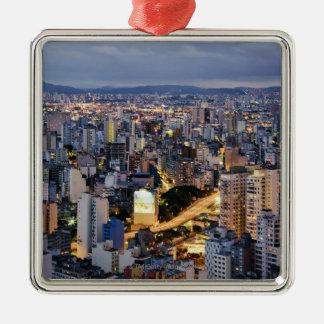 Paisaje urbano 2 de Sao Paulo Adorno Navideño Cuadrado De Metal