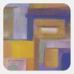 paisaje urbano abstracto amarillo púrpura urbano colcomania cuadrada