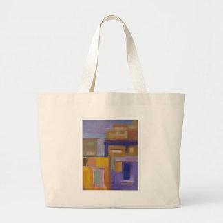paisaje urbano abstracto amarillo púrpura urbano r bolsa tela grande