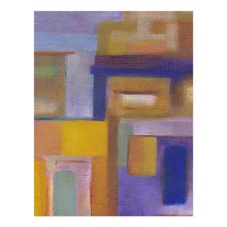 paisaje urbano abstracto amarillo púrpura urbano r membrete a diseño
