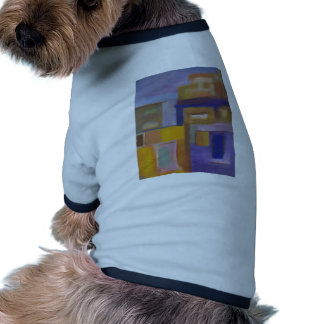 paisaje urbano abstracto amarillo púrpura urbano r camisas de mascota