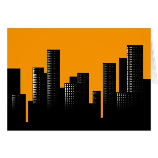 paisaje urbano anaranjado tarjeta pequeña