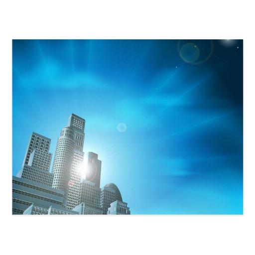 Paisaje urbano corporativo azul postal
