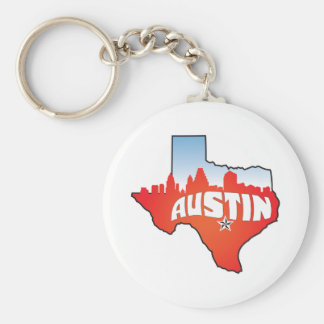 Paisaje urbano de Austin Tejas Llavero Redondo Tipo Pin