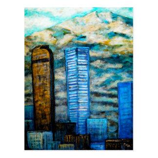 Paisaje urbano de Denver, pintura de la postal