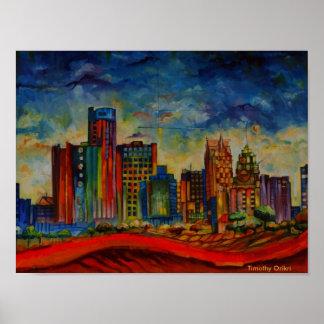 Paisaje urbano de Detroit IV - impresión de la lon Impresiones
