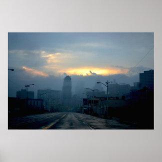 Paisaje urbano de Detroit - misterioso el sábado p Póster