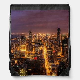 Paisaje urbano de la noche de Chicago Mochilas
