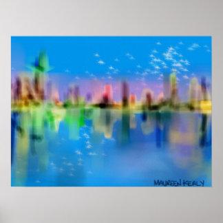 Paisaje urbano de la noche estrellada reflejado en poster