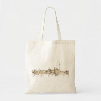 Paisaje urbano de la partitura del horizonte de bolsa tela barata
