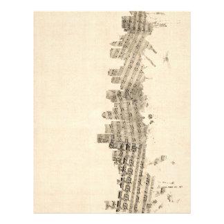 "Paisaje urbano de la partitura del horizonte de folleto 8.5"" x 11"""