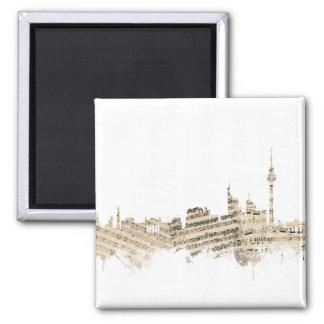 Paisaje urbano de la partitura del horizonte de imán cuadrado