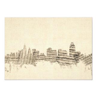 Paisaje urbano de la partitura del horizonte de invitación 12,7 x 17,8 cm