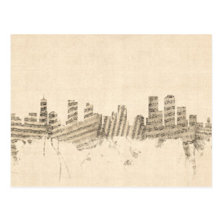 Paisaje urbano de la partitura del horizonte de postales