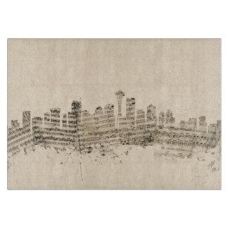 Paisaje urbano de la partitura del horizonte de tabla para cortar