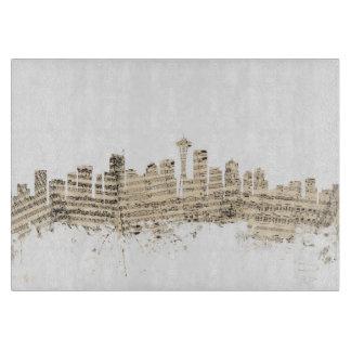 Paisaje urbano de la partitura del horizonte de tablas para cortar