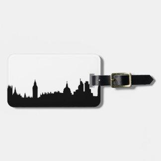 Paisaje urbano de la silueta del horizonte de Lond Etiquetas Bolsa
