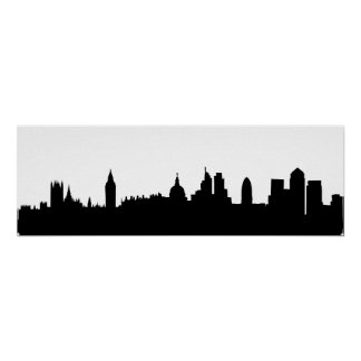 Paisaje urbano de la silueta del horizonte de Lond Impresiones
