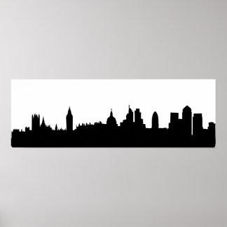 Paisaje urbano de la silueta del horizonte de Lond Póster