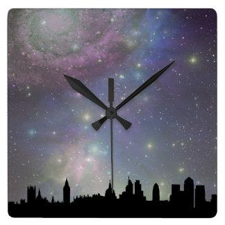 Paisaje urbano de la silueta del horizonte de Lond Reloj De Pared