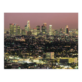 Paisaje urbano de Los Ángeles en la noche Tarjetas Postales