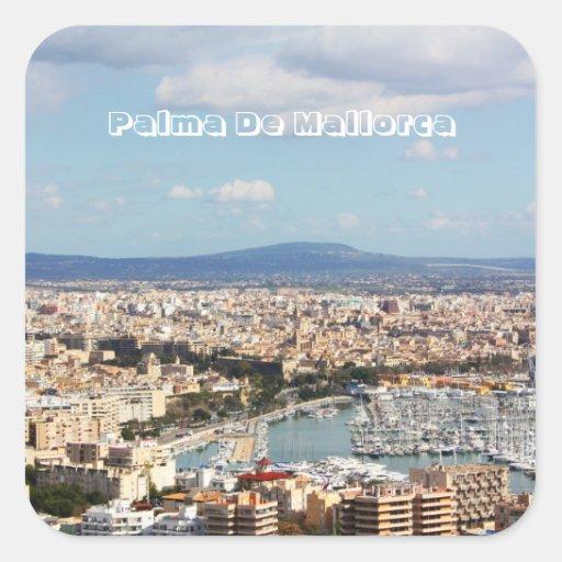 Paisaje urbano de Mallorca Pegatina Cuadrada