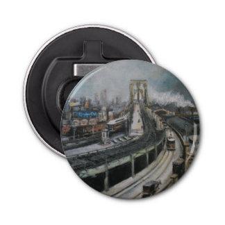 Paisaje urbano de New York City del puente de Broo Abrebotellas Redondo