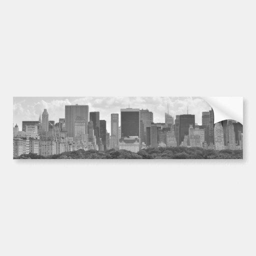 Paisaje urbano de Nueva York Pegatina De Parachoque