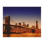Paisaje urbano de Nueva York con el puente sobre e Impresión En Madera