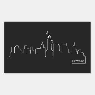 Paisaje urbano de Nueva York Pegatina Rectangular