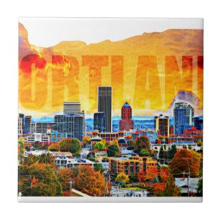 Paisaje urbano de Portland Oregon en esquema del Azulejo Cuadrado Pequeño