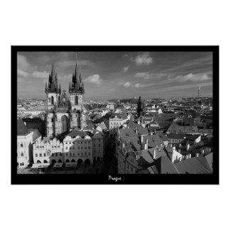 Paisaje urbano de Praga (B&W) Póster