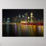 Paisaje urbano de Singapur a lo largo del río en e Poster