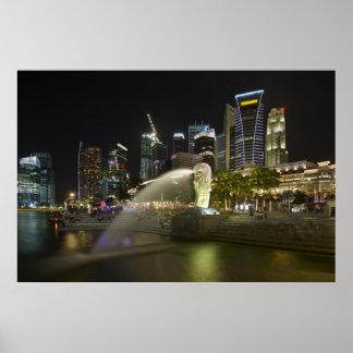 Paisaje urbano de Singapur a lo largo del río en e Posters