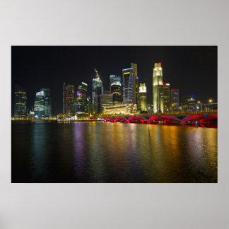 Paisaje urbano de Singapur a lo largo del río en Póster