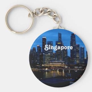 Paisaje urbano de Singapur Llavero Redondo Tipo Pin
