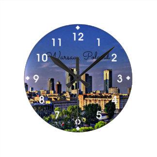 Paisaje urbano de Varsovia, Polonia Relojes De Pared
