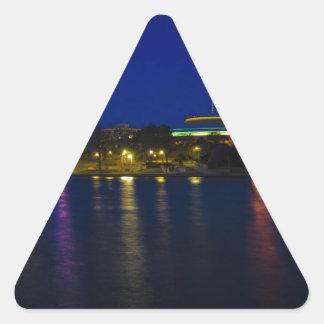 Paisaje urbano de Wichita Pegatina Triangular